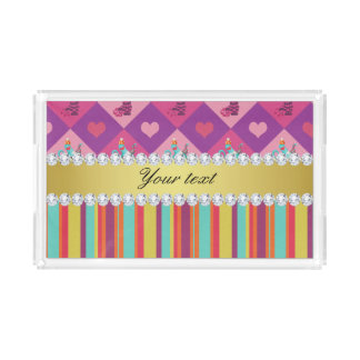 Colorful Alice in Wonderland and Stripes Acrylic Tray