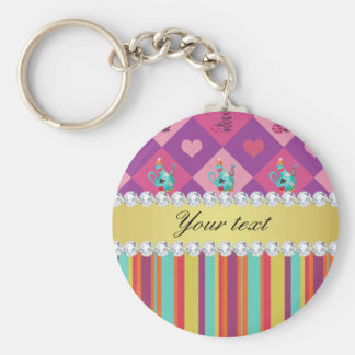 Colorful Alice in Wonderland and Stripes Basic Round Button Key Ring