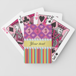 Colorful Alice in Wonderland and Stripes Bicycle Playing Cards