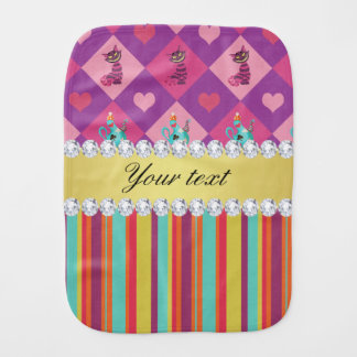 Colorful Alice in Wonderland and Stripes Burp Cloth