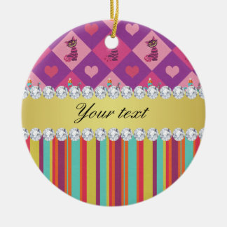 Colorful Alice in Wonderland and Stripes Ceramic Ornament