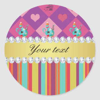 Colorful Alice in Wonderland and Stripes Classic Round Sticker