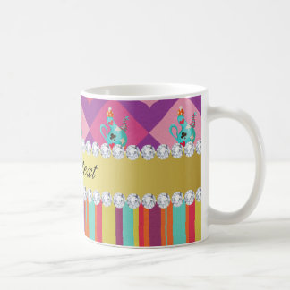 Colorful Alice in Wonderland and Stripes Coffee Mug
