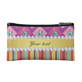Colorful Alice in Wonderland and Stripes Cosmetic Bags