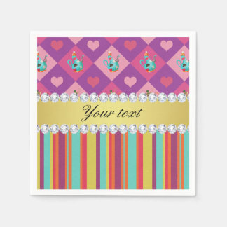 Colorful Alice in Wonderland and Stripes Disposable Serviette
