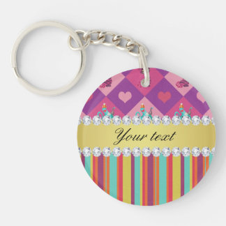 Colorful Alice in Wonderland and Stripes Double-Sided Round Acrylic Key Ring