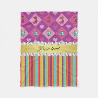 Colorful Alice in Wonderland and Stripes Fleece Blanket