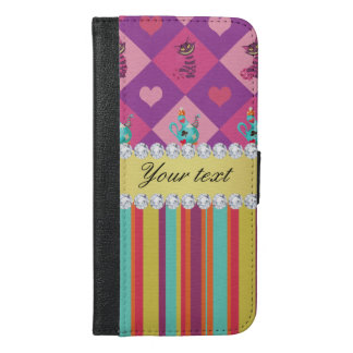 Colorful Alice in Wonderland and Stripes iPhone 6/6s Plus Wallet Case