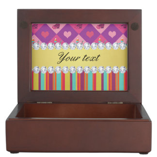 Colorful Alice in Wonderland and Stripes Keepsake Box