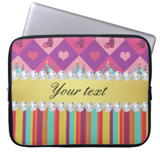 Colorful Alice in Wonderland and Stripes Laptop Sleeve