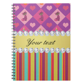 Colorful Alice in Wonderland and Stripes Notebooks