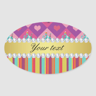 Colorful Alice in Wonderland and Stripes Oval Sticker