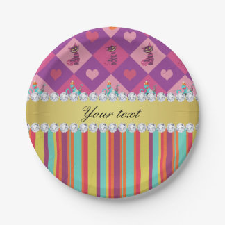 Colorful Alice in Wonderland and Stripes Paper Plate