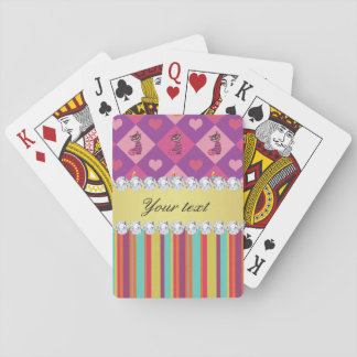 Colorful Alice in Wonderland and Stripes Playing Cards