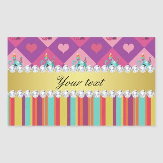 Colorful Alice in Wonderland and Stripes Rectangular Sticker