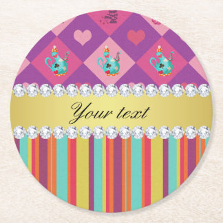 Colorful Alice in Wonderland and Stripes Round Paper Coaster