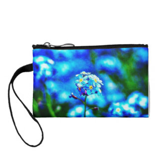 Colorful All Alone Blue Flower Key Coin Clutch Change Purses