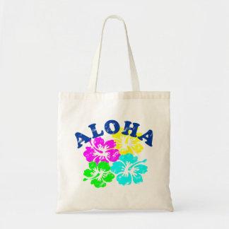 Colorful Aloha Vintage Tote Bag Hawaiian flowers