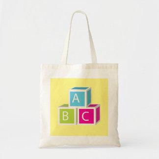 Colorful Alphabet blocks Budget Tote Bag