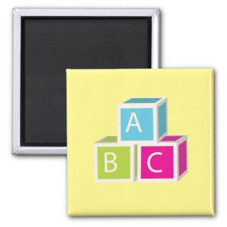 Colorful Alphabet blocks Square Magnet