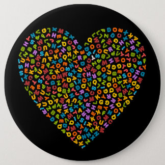 colorful alphabets within a heart 6 cm round badge