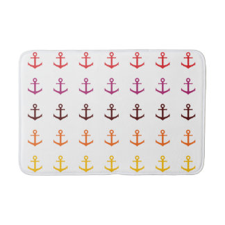 Colorful anchor pattern bath mat