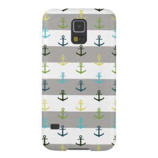 Colorful anchor pattern on stripy background case for galaxy s5