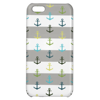 Colorful anchor pattern on stripy background case for iPhone 5C