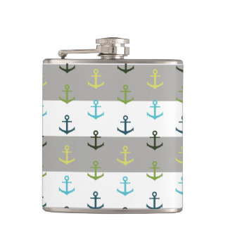 Colorful anchor pattern on stripy background flasks