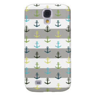 Colorful anchor pattern on stripy background galaxy s4 cases