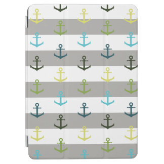 Colorful anchor pattern on stripy background iPad air cover