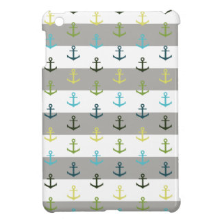 Colorful anchor pattern on stripy background iPad mini cases