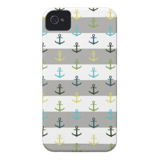 Colorful anchor pattern on stripy background iPhone 4 cases