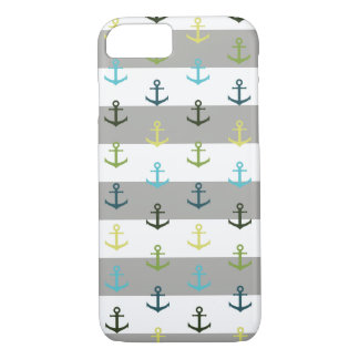 Colorful anchor pattern on stripy background iPhone 8/7 case