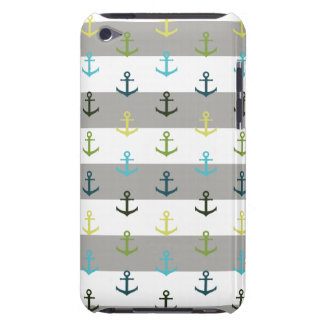 Colorful anchor pattern on stripy background iPod touch covers
