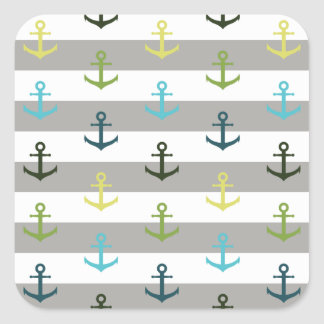 Colorful anchor pattern on stripy background square sticker