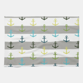 Colorful anchor pattern on stripy background tea towel