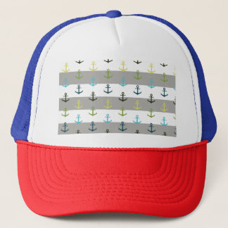 Colorful anchor pattern on stripy background trucker hat