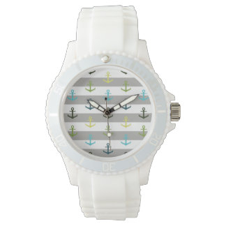 Colorful anchor pattern on stripy background watches