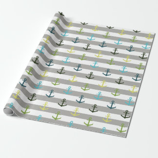 Colorful anchor pattern on stripy background wrapping paper