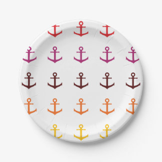 Colorful anchor pattern paper plate