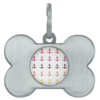Colorful anchor pattern pet tag
