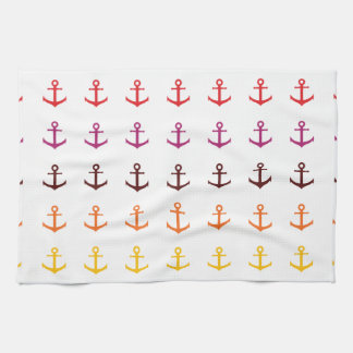 Colorful anchor pattern tea towel