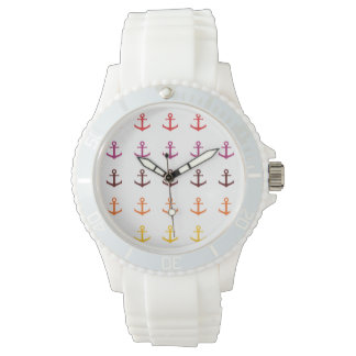 Colorful anchor pattern watch