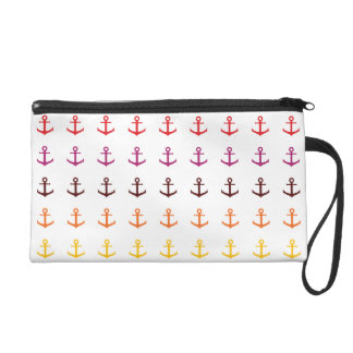Colorful anchor pattern wristlet