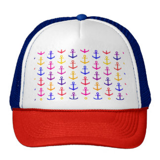 Colorful anchors pattern cap