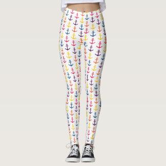 Colorful anchors pattern leggings