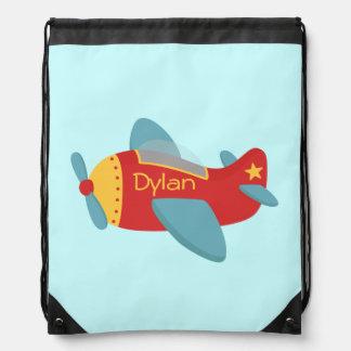 Colorful and Cute Cartoon Aeroplane for boys Drawstring Bag