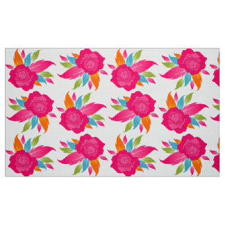 Colorful and Elegant Pink Rose Pattern Fabric