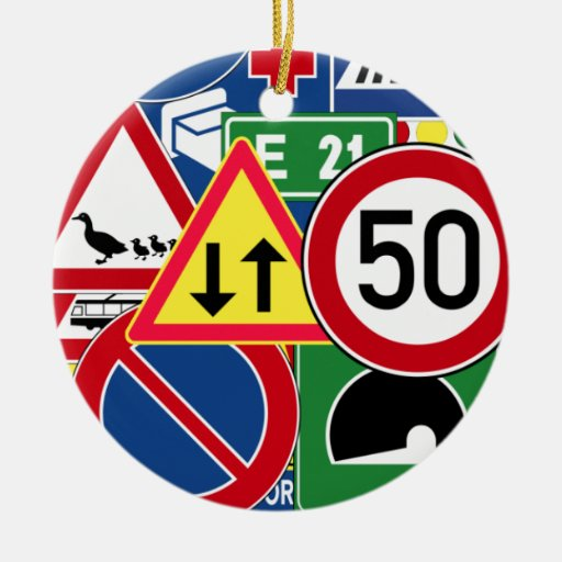 Colorful and Fun European Traffic Signs Collage Christmas Ornament
